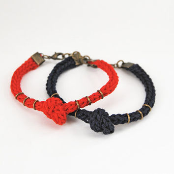 Red and blue couple bracelet set with knot and rings, his her bracelet set in red and navy blue