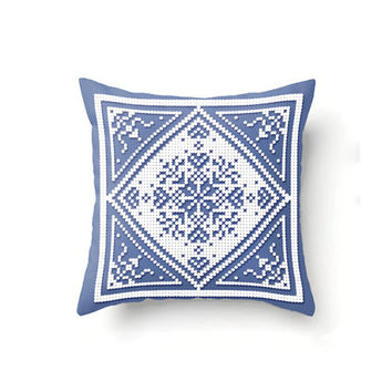 Throw Pillow Cover in a Scandinavian snowflake pattern, white on blue, indoor or outdoor pillow covers in 16 x 16, 18 x 18 or 20 x 20 inch