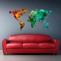 Full Color Wall Decal Mural Sticker Decor Art World Map Watercolor Triangle Like Water Paintings (col766)