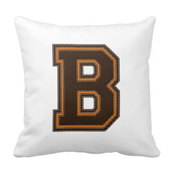 Collegiate Letter Throw Pillow, Orange-Brown B