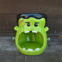 Frankenstein Candy Bowl - Large Handpainted Ceramic Halloween Decor - Black and Neon Green - Sale