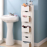 White 8 Drawer Slim Storage Unit Fits In Narrow Space Bathroom Bedroom Organizer