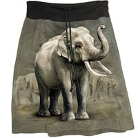 Asian ELEPHANT Photo Tie Dye T-Shirt Cotton Sweat Skirt - Made In USA.