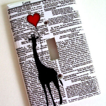 Love Me Giraffe Red Balloon Switchplate Cover in Single or Double Switch Plate Original Design