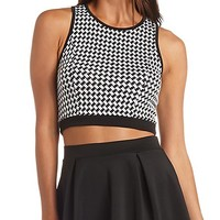 CROPPED HOUNDSTOOTH TANK TOP