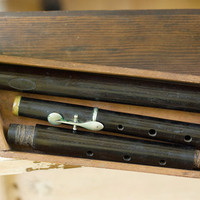 Wood Flute Plus Wooden Box Vintage