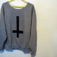 Inverted cross stud sweatshirt off the shoulder medium