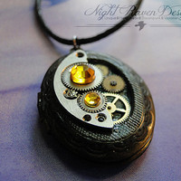Antique Brass Steampunk Locket -- Vintage Watch Movement Pendant