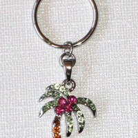 Rhinestone Palm Tree Charm Key Chain