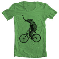 ELEPHANT RIDING a Bicycle Men's Women's T shirt - Fashion American Apparel Tshirt Tee - Coffee (9 COLORS) Sizes xs, s, m, l, xl (gct)(ns)