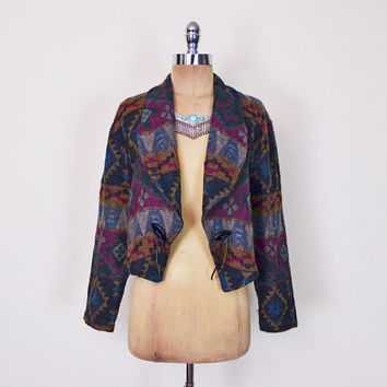 Southwestern Jacket Southwest Jacket Southwestern Blazer Southwest Blazer Tribal Jacket Tribal Print Jacket Crop Jacket 80s 90s M Medium