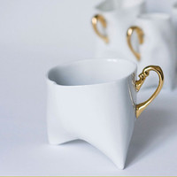Adorable porcelain cup - white with gold, contemporary ceramic cup handmade for coffee or tea by Endesign