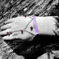 Harness Bracelet- Sexy, Heart in Hand, Love, Crystal Beads, Chain, Purple/Lavender, Slave Bracelet -OOAK Jewelry