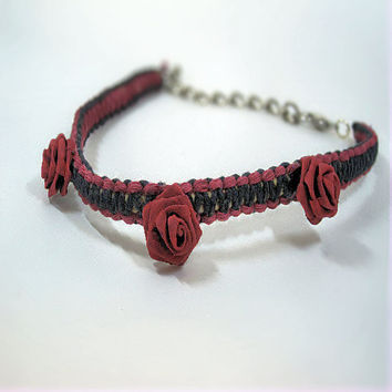 Choker Necklace (or dog necklace)- Hemp & Roses- Burgundy Red/Black