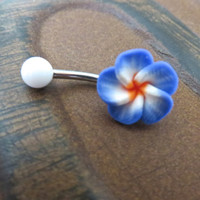 Indigo Plumeria Blue Hawaiian Flower Belly Button Ring Hawaii Navel Stud Jewelry Bar Barbell Piercing Tropical Hibiscus
