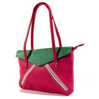 vegan leather handbag purse fuchsia, green and red -.- the Rovan -.-  35% summer sale