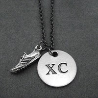 RUN XC Round Pewter Pendant PLUS Pewter Running Shoe Charm priced with Gunmetal Chain