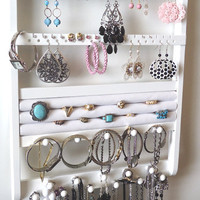 Jewelry Organizer, Ring Holder, 54-108 Prs, 16 Pegs, 20 Rings, Maple, Cabinet Grade Semi-Gloss White Paint, Boutique Quality & Design, 7/31