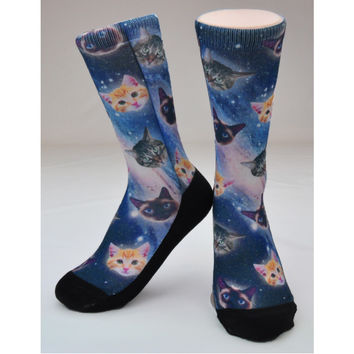 "CREW SOCKS - ""SPACE CATS"" GLOSS"
