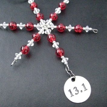 13.1 Half Marathon Ornament - Round Pewter 13.1 Pendant Dangling from a Hand Beaded Snowflake Ornament - Choose your Color