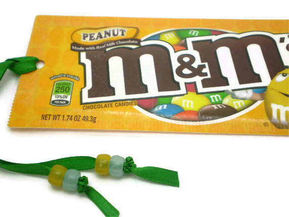 Peanut M&amp;M Candy Wrapper Bookmark - Recycled/Upcycled
