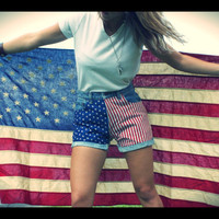 American Flag High Waisted Levi Jean Shorts