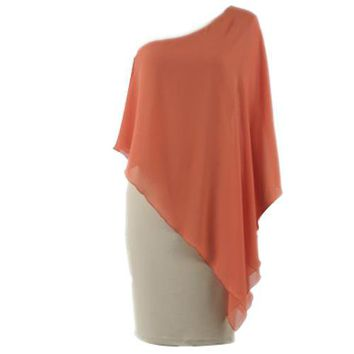 Bqueen Asymmetrical One Shoulder Orange Dress TD019C - Designer Shoes|Bqueenshoes.com