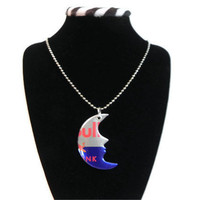 Recycled Redbull Soda Can Moon Necklace Jewelry