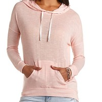 SHEER KNIT HIGH-LOW HOODIE
