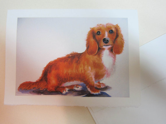 Dachshund Long Hair note card 5 x 7 - rusty doxey doxie dog watercolorsnmore