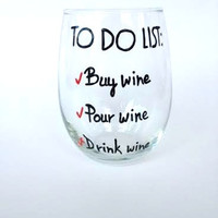Hand painted stemless wine glass tumbler To Do List
