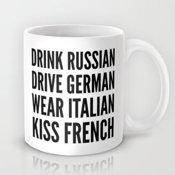 Russian German Italian French Mug by CreativeAngel | Society6