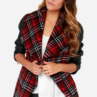 Crisscross Reference Red Plaid Vegan Leather Coat