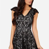 LULUS Exclusive Midnight Cap Ivory and Black Lace Dress