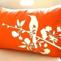 Limited Time Sale Orange Blooming Blossom Rectangle Pillow