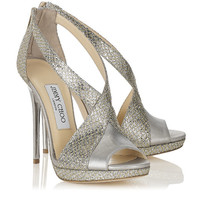 Champagne Glitter Fabric and Mirror Leather Sandals | Vision | Autumn Winter 14 | JIMMY CHOO Shoes