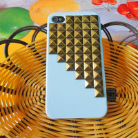 Beautiful blue hard Case with bronze pyramid for iPhone 4 case,iPhone 4S case ,iPhone 4GS case  SJK-1855