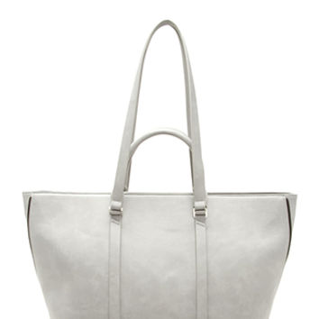 Side-Zip Faux Leather Tote