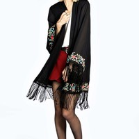 Boutique Bellisa Long Floral Lined Kimono Jacket