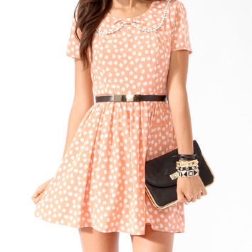 Collared Ditsy Apple Dress