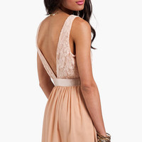 Lace Deep V Back Sleeveless Dress