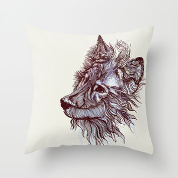 Wolf  Throw Pillow by rskinner1122