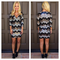 Say it Right Chevron Sequin Dress - BLACK & BRONZE