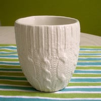 Ivory Cable knit ceramic cup