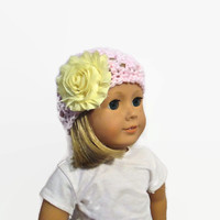Hat Pink Yellow Flower Crochet 18 inch Doll
