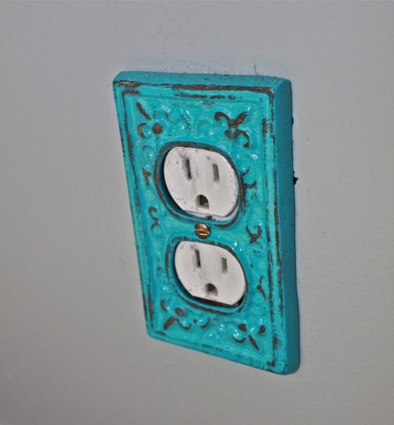 Turquoise decorative electrical outlet from aquaxpressions on Electrical outlet covers