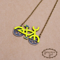 Bicycle Necklace in Neon Yellow