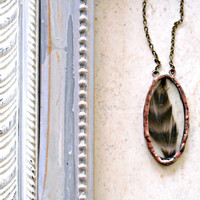 Quail Feather Soldered Glass Oval Necklace