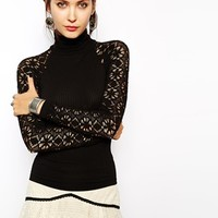 Free People Top in Lace with High Neck