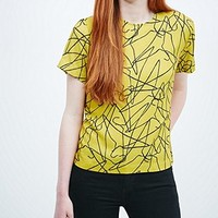 Peter Jensen Hanger Print Woven Tee in Yellow - Urban Outfitters